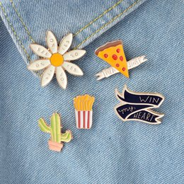 """Wholesale French Plants - French Fries Pizza """"Win my heart"""" Flower Daisy Mexican Cactus Pins Brooch Badge Enamel Pins Cactus Jewelry"""