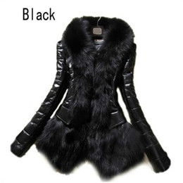 Wholesale Faux Leather Coats - Hot Luxury Women's Faux Fur Coat Leather Outerwear Snowsuit Long Sleeve Jacket Black Fashion Free Shipping