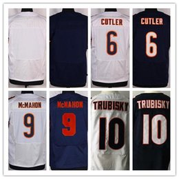 Wholesale Blank Jerseys White - Men Elite Style Bearz Blank #6 CUTLER #9 McMAHON #10 TRUBISKY White Black Blue new rush blue Stitched Mix Order footal jerseys Drop shipping
