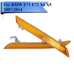 Wholesale E72 E71 - Clear Amber Yellow Front Bumper Reflector For BMW E70 E71 E72 X6 xDrive   M Sport 2007 - 2014 Marker Warning Light Strips Car-Styling #W101