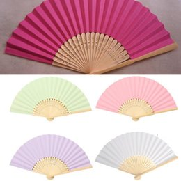 Wholesale Hand Fan Supplies - 1PCS Chinese Style Bamboo Paper Pocket Fan Folding Foldable Hand Held Fans Wedding Party Favor Event Party Supplies
