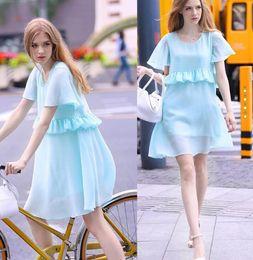 Wholesale Tea Length Chiffon Skirts - Summer Chiffon Maternity Dress Loose Breathable Large Size Pleated Skirt V-neck - Free Shipping +Free Gift