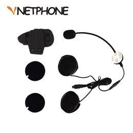 Wholesale clip bluetooth headset mini - Wholesale- 2016 Real Casco Mini Usb Jack Microphone Speaker Headset And Helmet Intercom Clip for Motorcycle Bluetooth Device Vnetphone V8
