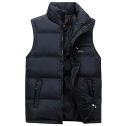 Wholesale Men Cotton Vest Winter - Wholesale- Men Winter Waistcoat Fashion Plus Size Masculine Photographer Vest Thick Duck Down Warm Sleeveless Male Jacket With Pockets 4XL
