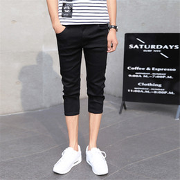 Wholesale Capri Pants For Men - Wholesale- Men's Slim Fitted Capri Jeans Casual Straight Stretch Pencil Calf Length Jeans Skinny Tapered Feet Pants Black for Men 27-36