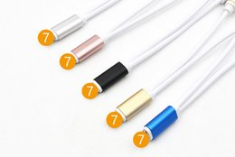 Wholesale Hot Box Free Cable - Hot Iphone 7 earphone charging cable Lightning turn 3.5mm audio cables one turn two cable DHL free shipping