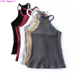 Wholesale Yellow Striped Tank - Wholesale- Sexy Fitness Halter Slim fit Camis 2016 Brandy Melville crop Top Camisetas Tank Vest Striped Line Halter Straps Tee