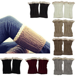 Wholesale Wholesale Fashion Womens Boots - Wholesale- New Fashion Winter Womens girls Crochet Knit Lace Trim Leg Warmers Cuffs Toppers Boot Socks Y1 Q1