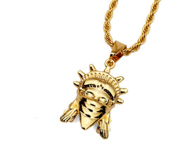 Wholesale American Liberty - Hip Hop Jewelry Gold Plated American Rebel Statue Of Liberty Pendant Necklace Women Rebellious Masked Goddess