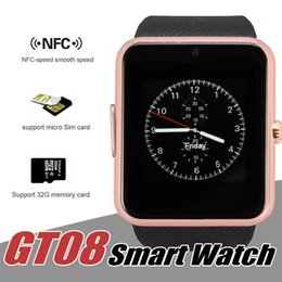 Wholesale Silver Watch Boxes - GT08 Smart Watch Bluetooth Smartwatches For Android Smartphones SIM Card Slot NFC Health Watchs for Android with Retail Box