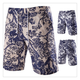 Wholesale Mens White Beach Pants - Mens Shorts Fashion Linen Printing Beach Pants Men's Casual Sports Breathable Summer Shorts US Size:XS-L