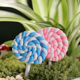 Wholesale Big Lollipops - 2Pcs Small And Big Artificial Mini Lollipops Minature Sugar Candy Micro Landscaping Decoration DIY Accessories Craft