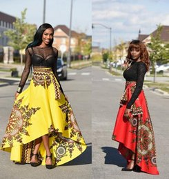 Wholesale Chiffon Long Floral Skirt - 2017 New women Bohemia Dresses Fashion printing in Africa Midi Dresses Before The Short After The Long Large Swing Skirts