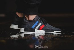 Wholesale Boots 44 - 2017 high quality NMD Runner R1 Primeknit PK Tri-Color Red white blue Men Women Running Shoes sports Shoes Sneakers boost eur 36-44 cheap