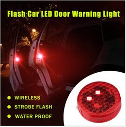 Wholesale Car Door Anti Collision - 2pcs set Car LED Door Opened Signal Warning Strobe Light Wireless Flash Decorative Indicator Anti-Collision Lamp Red