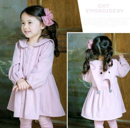 Wholesale Wholesale Big Girls Dress - 2017 hot sell Korean style Girls long sleeve big pet pan collar cat print 100%l cotton Dress solid color girl fall casual elegant dress