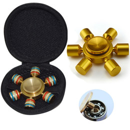 Wholesale Toy Big Zippers - Metal EDC Hand Spinner 6 Spins Fidget Spinner Fingertips Spiral Finger Toys For Decompression Anxiety with Zipper Carry Bag
