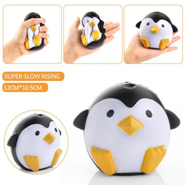 Wholesale Rose Scented - 2017 New 11CM Jumbo Kawaii Cute Penguin Squishy Slow Rising Relieve Stress Soft Sweet Charm Scented Bread Cake kid Toy Gift
