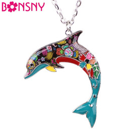Wholesale Collections Link - Bonsny OCEAN Collection Maxi Statement Metal Alloy Choker Dolphin Necklace Chain Collar Pendant Fashion New Enamel Jewelry Women