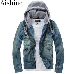 Wholesale Chaqueta Denim Hombre - Wholesale- YXS-P03 2016 Fashion Mens Vintage Classic Detachable Hat Denim Jacket chaqueta hombre Hooded Mens Denim Jean Jacket Euro Size