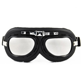 Wholesale Raf Goggles - WWII RAF Vintage Pilot Style Black Frame Motorcycle Café Racer Cruiser Touring Helmet Goggles