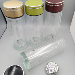 Wholesale Double Layer Glass Filter - Heat-resisting Glass Water Bottle 19*6.6cm Double Layer Vacuum Cup Stainless Steel Tea Strainer Office Filter Tea Tumbler #6702