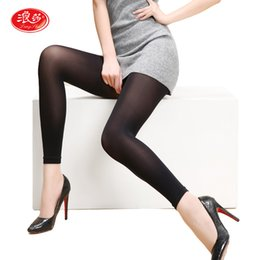 Wholesale Sexy Footless - Wholesale- Langsha New 120D Black Skin Women Tights No Foot Pantyhose Girls Footless Tights Autumn Spring Top-Quality Sexy Stockings 1 Pair