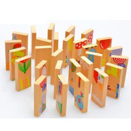Brinquedos de madeira velha on-line-Bebê Unisex Kid 28 PCS Domino Animal Puzzle Blocos de Brinquedo Domino De Madeira Seguro Brinquedos Educativos Presente para o Miúdo, acima de 3 Anos de Idade