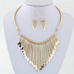 Wholesale Silver Metal Bib Necklace - Womens Necklace Earring Sets Luxury Metal Tassels Pendant Chain Bib Necklace Earrings Gifts For Her Jewelry Set