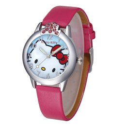Wholesale Wholesale Kitty Tops - Free Shipping Hot 2017 Top Brand New Leather Wrist watch Children Girl Cartoon Fashion Hello kitty tudent Quartz Watch