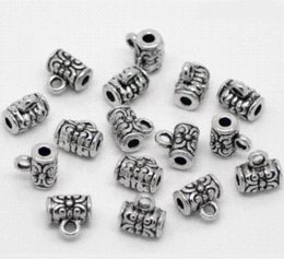 Wholesale Tube Pendant Bails - Pendant Clips & Pendant Clasps 80Pcs Silver Tone Wire Tube Spacer Beads Bail 4x7mm Jewelry Findings DIY jewely parts accessories