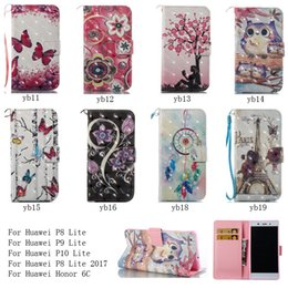 Wholesale Huawei Ascend 3d Cases - For Huawei Ascend P8 P9 P10 Lite Case 3D PU Leather Cartoon Wallet Case Shockproof Flip Stand Cover Bright Colors Phone Case