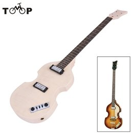 Wholesale Diy Unfinished Guitars - Wholesale- Unfinished DIY Electric Bass Guitar Kit High Quality Basswood Body Maple Neck Rosewood Fingerboard Electric Guitarra Kit