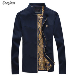 Wholesale Stand Up Collar Jackets - Wholesale- Men's Jackets 2016 New Brand Long Sleeve Stand Collar Slim Fit Spring and Autumn Casual Solid Outwear Coats Up Size 4XL 5XL
