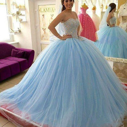 Wholesale Two Piece Quinceanera Gowns - Light Sky Blue Crystal Quinceanera Dresses Beaded Sweetheart Masquerad Sweet 16 Tulle Ball Gowns Debutante Dress