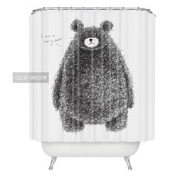Wholesale Free Bear Pattern - Wholesale creative soft bath curtain stylish Black bear pattern Waterproof curtain European and American style shower curtain free shipping