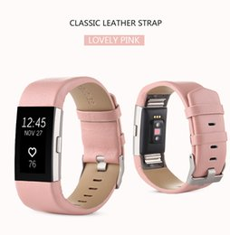 Wholesale Heart Rate Belt - Wholesale Replacement Band For Fitbit Charge 2 Straps Heart Rate Wristband Belt Genuine Leather Strap For Fitbit Charge 2 Bracelet