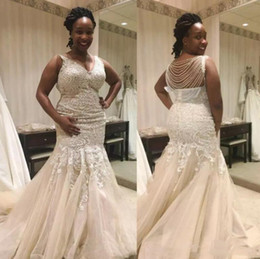 Wholesale Modern Gold Chains - Nigerian Plus Size Wedding Dresses Chapel Train Mermaid V Neck Sweep Train Bridal Gowns With Lace Applique Beading Chains For Beach