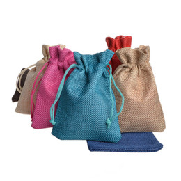 Wholesale wedding favors drawstring bags - 13x18cm Hessian Linen Rustic Burlap Drawstring Jute Bag Candy Gift Christmas Herb Seed Wedding Favors Packaging Pouches Home Storage Bags