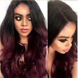 Wholesale Dark Red Hair Wigs - Ombre 99J Brazilian human hair lace Wig Dark Root Ombre red Glueless Full Lace Wigs Lace Front Wigs with baby hair