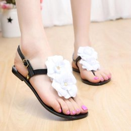 Wholesale Jelly Shoes Flats For Women - Wholesale- 2016 Gladiator Sandals For Women Summer Jelly Flower Crystal Flat Heels Flip Flops Women's Shoes Sandals Femme