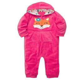 Wholesale Polar Pink - AbaoDo top quality pink fox baby rompers cotton polar fleece infants sleepsuit long sleeve newborn hooded clothing wear drop shipping