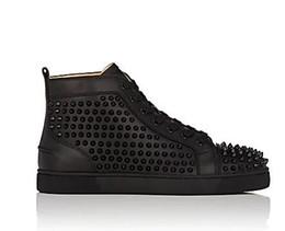 Zapatillas de strass online-Venta al por mayor 2017 hombres mujeres rhinestone zapatos de tacón alto famoso diseñador de la marca de fondo rojo Sneakers mens loubbis zapatos con caja y bolsa de polvo