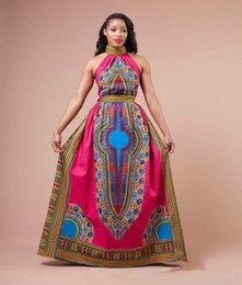 Wholesale Traditional Fashion Clothes - 2017 African Women Dashiki Dress Womens Clothing Red Fashion Designed Formal Traditional Africa totem printed Halter Floor Length Maxi Dress