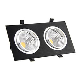 Wholesale black led downlight - Wholesale- LED Recessed Dimmable COB Downlight 10W 14W 18W 24W Black Square 2-Heads Ceiling Downlight Indoor Lighting Home Decor AC85V-265V