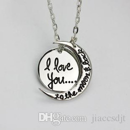 Wholesale Wholesale Valentines Heart - 2017 valentines day gifts new arrival I love you to the moon and back the moon the sun necklac