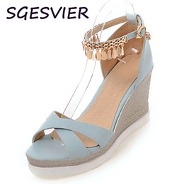 Wholesale Sandals 9cm Heel - SGESVIER Black Pink Blue White Pure Color 9CM High Heels Wedges Metal Decorated Peep Toe Woman Sandals Platform Shoes VV686