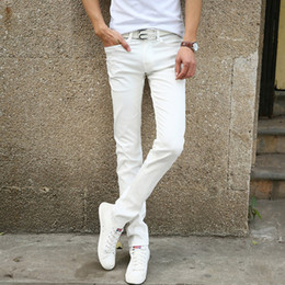 Wholesale Tight Colors Jeans - Fashion Men Casual Stretch Skinny Jeans Trousers Tight Pants Solid Colors High Quality White Slim Jeans