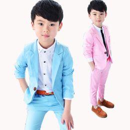 Sólido rosado / azul niño Blazers traje Moda Casual Ropa para niños Conjunto primavera otoño Chaqueta + pantalón 2 piezas conjunto 2-10Y desde fabricantes