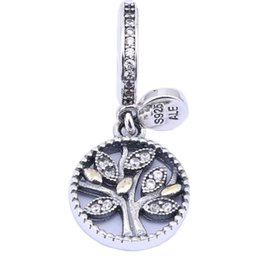 Wholesale 14k Gold Cz Pendant - 14k Gold Plated Leaf & Clear CZ Bead 925 Sterling Silver Family Tree Dangle Pendant Charms For DIY Brand Bracelets Jewelry Accessories